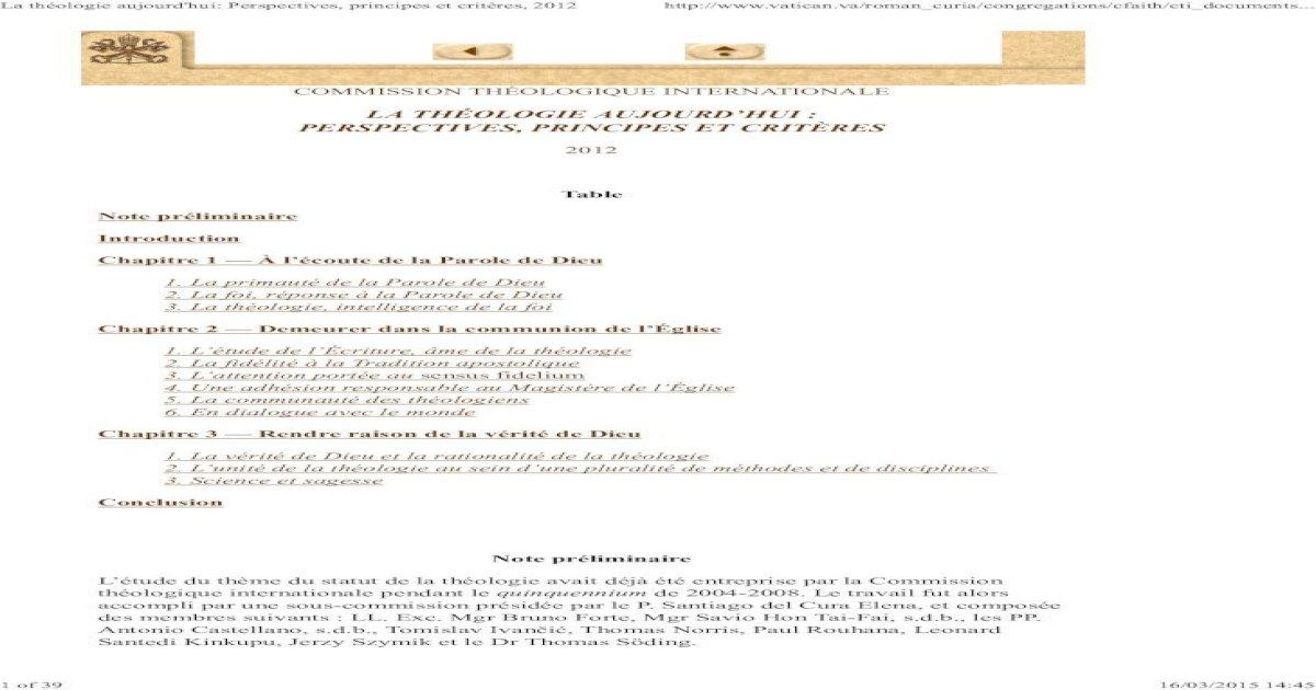 La théologie aujourd'hui : perspectives, principes et critères - Commission Théologique